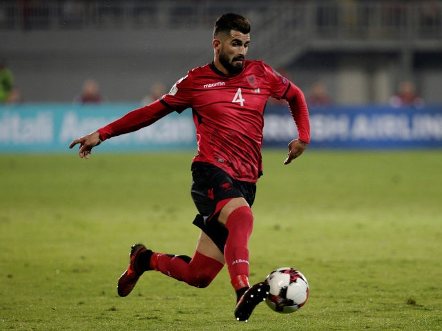 Albania's Elseid Hysaj in action on October 9, 2017