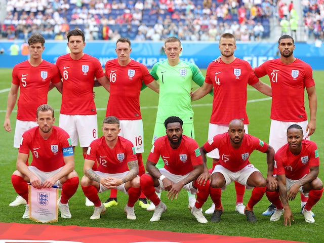 England's starting XI line up prior to the World Cup third-place playoff between Belgium and England on July 14, 2018