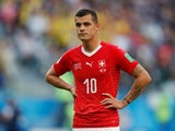 Switzerland's Granit Xhaka reacts during the match against Sweden on July 3, 2018