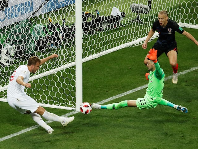 England captain Harry Kane misses a chance in the World Cup semi-final with Croatia on June 11, 2018