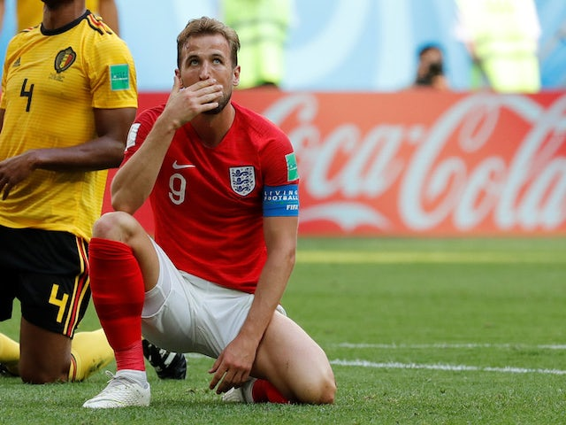 Harry Kane reacts to a missed chance during the World Cup third-place playoff between Belgium and England on July 14, 2018
