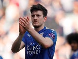 Leicester City defender Harry Maguire in action during a Premier League match against Burnley in April 2018