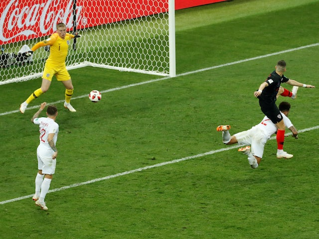 Croatia's Ivan Perisic scores the equaliser against England in the World Cup semi-final on July 11, 2018