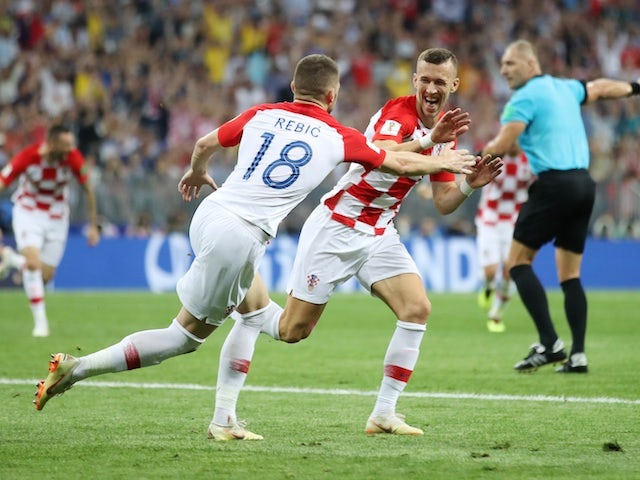 Ivan Perisic celebrates his equaliser during the World Cup final between France and Croatia on July 15, 2018