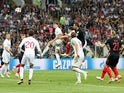 England defender John Stones sees his header cleared off the line in the World Cup semi-final with Croatia on July 11, 2018