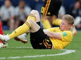Kevin De Bruyne winces after going down during the World Cup third-place playoff between Belgium and England on July 14, 2018
