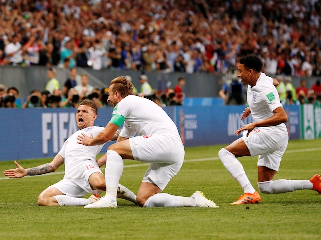 England full-back Kieran Trippier celebrates bringing football one step closer to home with the opening goal in the World Cup semi-final against Croatia on June 11, 2018