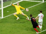 Croatia striker Mario Mandzukic scores the winning goal in the World Cup semi-final against England on July 11, 2018