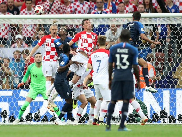 Mario Mandzukic scores an own goal during the World Cup final between France and Croatia on July 15, 2018