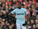 West Ham United's Michail Antonio looks dejected during the game against Liverpool on February 24, 2018