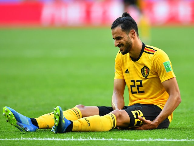 Nacer Chadli goes down injured during the World Cup third-place playoff between Belgium and England on July 14, 2018