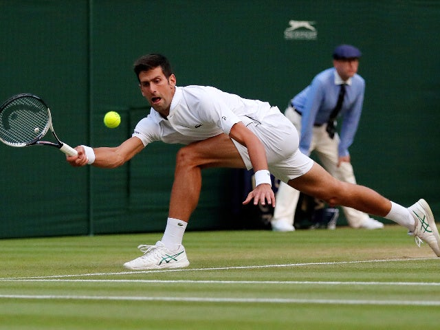 Serbia's Novak Djokovic in action during the Wimbledon fourth-round match against Russia's Karen Khachanov July 9, 2018... on the grass