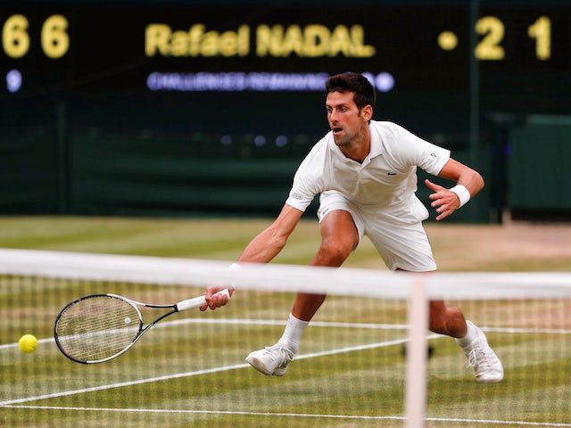 Novak Djokovic in action during his Wimbledon semi-final against Rafael Nadal on July 14, 2018