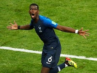 Paul Pogba scores Les Bleus' third during the World Cup final between France and Croatia on July 15, 2018