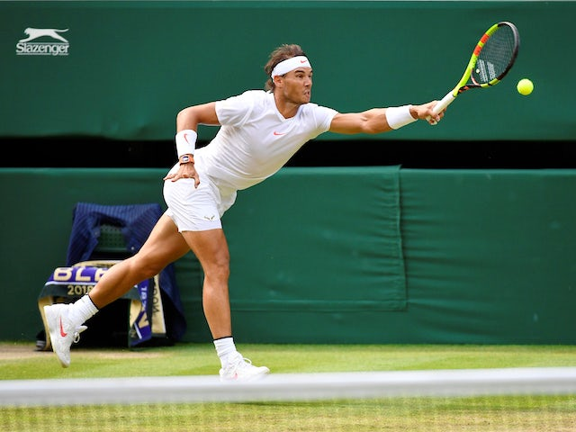 Rafael Nadal in action at Wimbledon on July 9, 2018