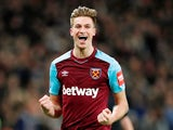 West Ham United's Reece Burke celebrates scoring their first goal against Shrewsbury Town on January 16, 2018