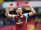 Burnley's Sam Vokes celebrates after the match against Watford on April 7, 2018