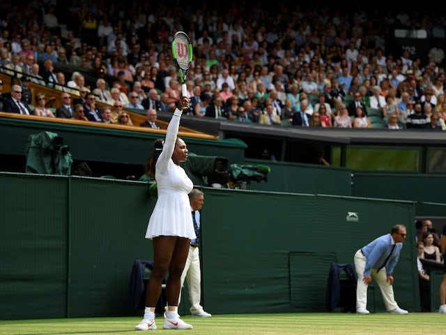 Serena Williams in action during her Wimbledon semi-final against Julia Goerges on July 12, 2018