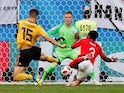 Thomas Meunier scores the opener during the World Cup third-place playoff between Belgium and England on July 14, 2018