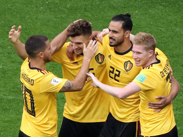 Thomas Meunier celebrates with teammates after scoring the opener during the World Cup third-place playoff between Belgium and England on July 14, 2018