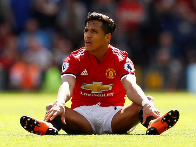 Alexis Sanchez looking frustrated while playing for Manchester United on May 13, 2018