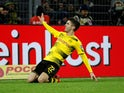 Christian Pulisic celebrates scoring for Borussia Dortmund on December 16, 2017