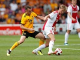 Diogo Jota and Frenkie de Jong in action during the pre-season friendly between Ajax and Wolverhampton Wanderers on July 19, 2018