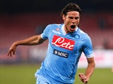 Napoli's Edinson Cavani celebrates after scoring against AS Roma during their Italian Serie A soccer match at the San Paolo stadium in Naples January 6, 2013