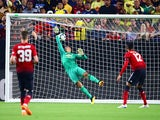 Joel Pereira concedes the first during the pre-season friendly between Club America and Manchester United on July 19, 2018