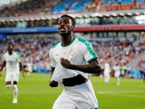 Moussa Wague celebrates scoring for Senegal at the World Cup on June 24, 2018