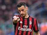AC Milan's Nikola Kalinic gestures on October 1, 2017