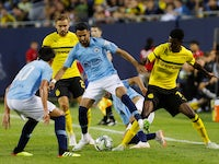 Riyad Mahrez and Alexander Isak during the pre-season friendly between Manchester City and Borussia Dortmund on July 20, 2018