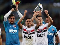 Sao Paulo players celebrate after they defeat Flamengo in the Brasileiro on July 18, 2018