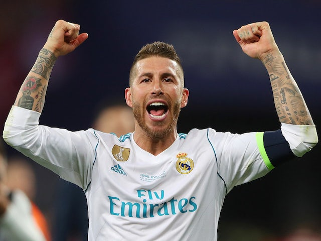 Real Madrid captain Sergio Ramos celebrates after winning the Champions League final against Liverpool in May 2018
