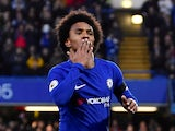 Chelsea's Willian celebrates scoring their first goal against Crystal Palace on March 10, 2018