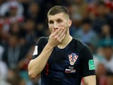 Croatia winger Ante Rebic reacts during his side's World Cup quarter-final with Russia