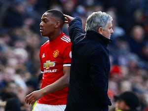 Anthony Martial is substituted off by Manchester United manager Jose Mourinho on February 25, 2018