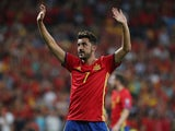 Spain's David Villa gestures to fans on September 2, 2017
