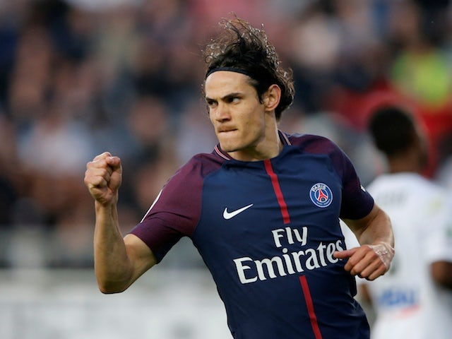 Paris Saint-Germain striker Edinson Cavani in action during a Ligue 1 clash with Amiens in May 2018