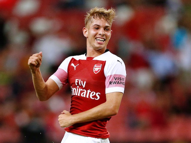 Emile Smith-Rowe celebrates his equaliser during the pre-season friendly between Arsenal and Atletico Madrid on July 26, 2018
