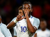England's Kasey Palmer celebrates scoring on September 5, 2017