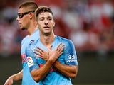 Luciano Vietto celebrates scoring the opener during the pre-season friendly between Arsenal and Atletico Madrid on July 26, 2018