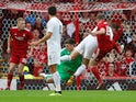 Burnley goalkeeper Nick Pope picks up an injury during his side's Europa League qualifying match against Aberdeen