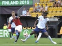 Simen Bolkan and Nordli Trevoh Chabolah in action during the U20 World Cup qualifier between Norway under-19s and England under-19s on July 26, 2018