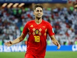 Adnan Januzaj celebrates scoring for Belgium against England at the World Cup on June 28, 2018