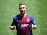 Arthur Melo is unveiled as a Barcelona player on July 12, 2018