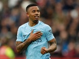 Gabriel Jesus in action for Manchester City on April 29, 2018