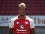 Jean-Philippe Gbamin poses for his Mainz team photo in July 2017