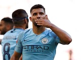 Sergio Aguero celebrates scoring for Manchester City in the Community Shield on August 5, 2018