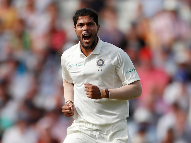 Umesh Yadav celebrates during the first day of the second Test between England and India on August 1, 2018